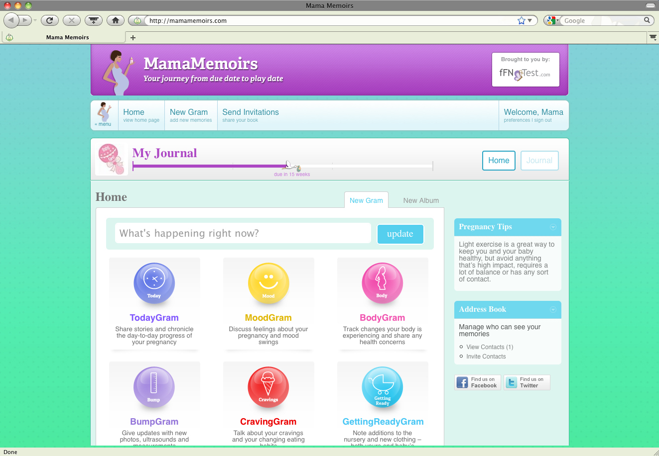 the MamaMemoirs homepage,